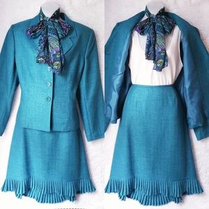 Vintage Skirt Suit with Scarf